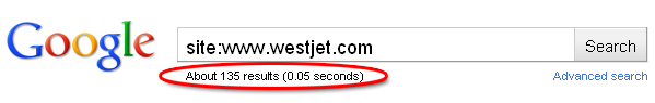 Google only has 135 pages indexed for WestJet.com